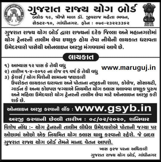 GSYB Recruitment for Yog Trainer for all District and City